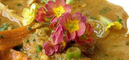 Raw vegan zeleninová polievka sjarnými kvetmi