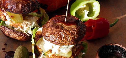 Raw vegan šampiňónovo-tekvicový hamburger